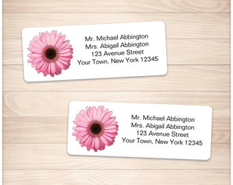 """Printable Pink Daisy Address Labels - Pretty Pink Floral Personalized 2 5/8"""" x 1"""" Address Labels - DIY Editable PDF - Instant Download"""