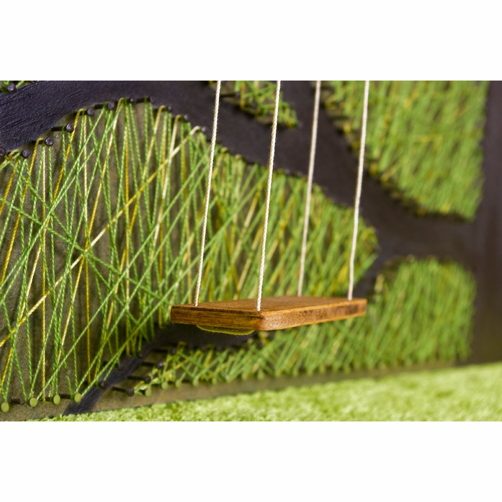 string art tree wall hanging strings and nails art tree. Black Bedroom Furniture Sets. Home Design Ideas
