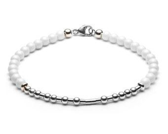 Ball bracelet / name bracelet • Morse code • white / silver