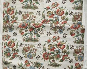 1950s Jacobean Print Linen Union Remnant 1.45m