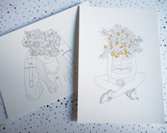 Set of 2 cards postal XX Flower Head