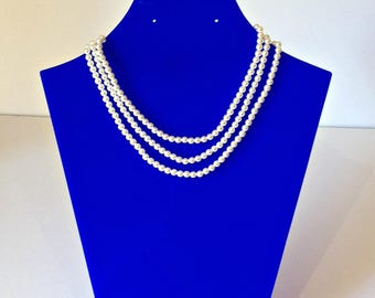 Sarah Coventry Pearl Necklace, Vintage Costume Jewellery, Faux Pearl Necklace, 3 Strand Pearl Necklace, Retro Jewellery, String Of Pearls