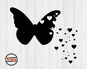 Butterfly Hearts SVG, Butterflies, Hearts, DXF, PNG, Silhouette, Cricut, Cameo, Cut File, T-shirt Transfer, Instant Download, Insects, Love