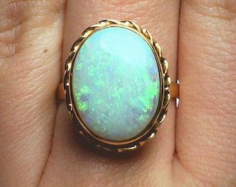Vintage 14K Gold Bezel Set 6 Carat Natural Opal Cabochon Ring