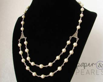 Split Necklace with Pearls