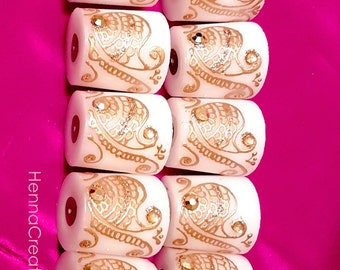 New! Set of 50 Exquisite Party Favor Candles in Classic Paisley Henna Design, with Gold Metallic Gemstones!