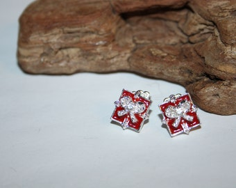 Avon Present Earrings, Shiny Silver and Red Enamel Earrings, Gift Earrings, Gift box Earrings, Vintage Avon Earrings, Vintage Avon Jewelry