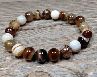 Bracelet gemstones of Botswana agate 8mm