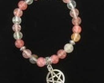Watermelon Tourmoline with Pentacle Charm with Silver Accents Bracelet