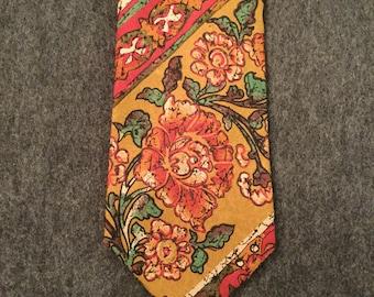 Vintage French Charles Jourdan Silk Batik Necktie