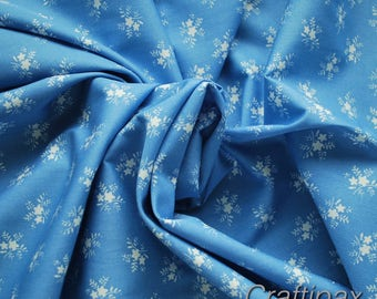 Small Floral Fabric in Copen Blue - 100% Cotton - Quilting - Patchwork - Dressmaking - UK Seller