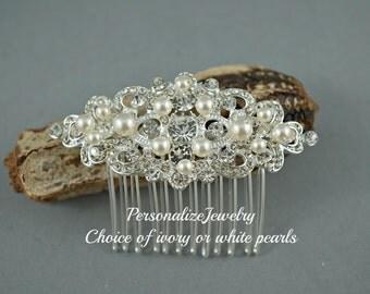 Bridal Comb Rhinestone Silver Wedding Headpiece Hair Accessory Ivory White Cream Pearls Spring Wedding Bridal Metal Bride Piece Simple