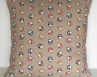 "16"" (40cm x 40cm)Owls Blue Red Brown Linen Cushion Cover"
