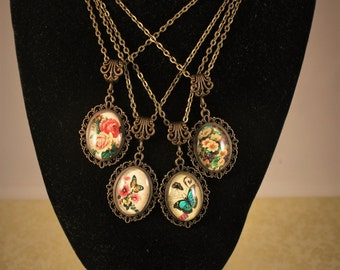 Victorian Garden Butterfly And Flower Cameo Necklaces