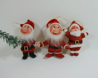 3 Vintage Flock Father Christmases. Christmas Tree Decorations, Father Christmas Ornaments, Retro Tree Trimmings. Vintage Flock Decorations