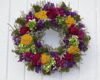 German Statice Wreath, Spring Wreath, Dried floral Wreath, Handmade  Dried Floral Wreath, Spring Dried Flower Wreath, Handmade