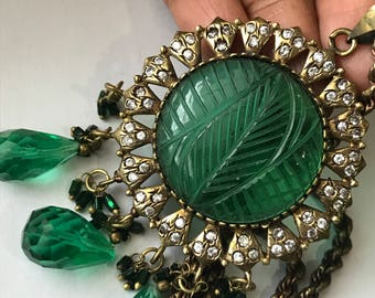 Massive Pendant Necklace . Carved emerald glass . Victorian revival jewelry