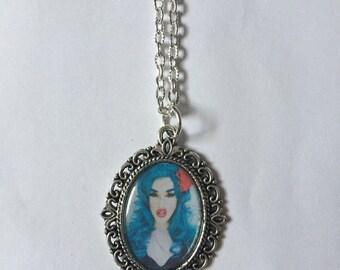 Adore Delano Silver Cameo Necklace