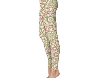 Bohemian Leggings, Yoga Mandala Pattern Boho Pants, Rose Pink and Olive Green Floral Tights, Printed Leggings Women