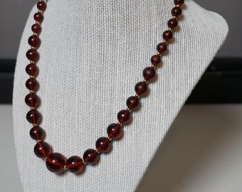 Burgundy Oxblood Beaded Costume Necklace