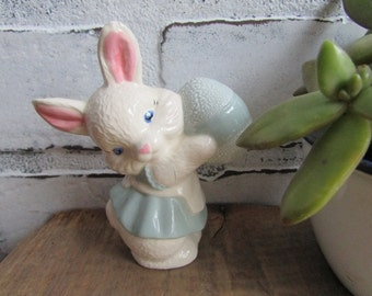 Small Bunny and Easter Egg Figurine Vintage Knick Knack