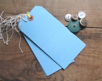 10 Large Blue Tags VIntage Blank Manila Tags Craft Supply Scrapbook Supply