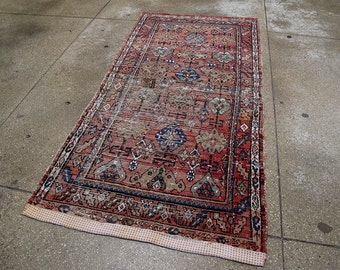 "Antique Distressed Persian Rug 3'2"" x 6'6"" - Hunttrugs"