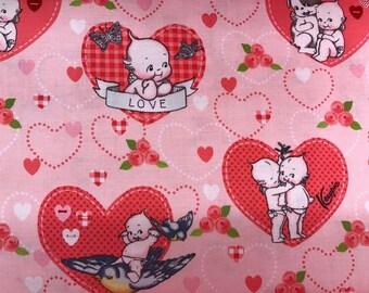 Vintage retro style Kewpie Doll fabric, pink fabric, vintage heart fabric, novelty fabric, retro style, vintage style