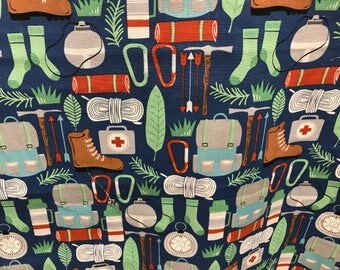 Camping trip fabric, plants fabric, nature fabric, novelty fabric, summertime, camping, boots, sleeping bag, canteen