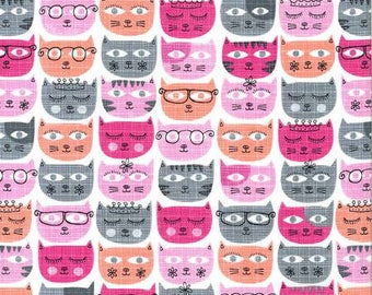 Pink Cat Quilt Fabric, Cotton Sewing Fabric - Sassy Cats Fabric Line by Michael Miller Collection in Geometric