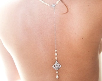 Collar and back jewelry - Bianca - married back jewelry - Bridal necklace back - wedding jewelry - jewelry back c - necklace back