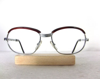 70's Eyeglasses France Alixe White Gold Brown Rimmed Eye glasses Frame Medium to Large Size 70's NEW old stock Eyewear FREE SHIPPING