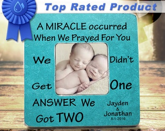Twins Baby Gifts We prayed for one miracle twin frames fraternal twins mother of twins father of twins grandfather of twins TPFS