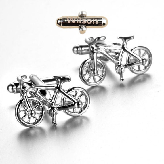 Bicycle man lettering Cufflinks Cuff nails personalized letter combination free commemorative birthday Cufflinks design Cufflinks