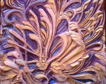 Wall Sculpture, 3D Wall Art, Carved Wall Panel, Hand Painted