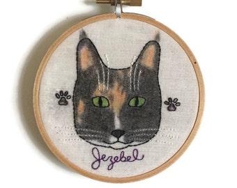 Custom Cat portrait, custom pet portrait, pet gift, cat portrait, custom portraits, cat embroidery, hoop art, embroidery