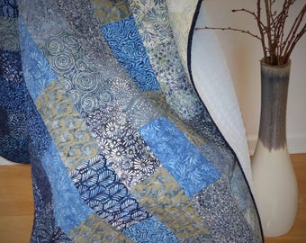 Throw Quilt-Lap Quilt-Batik Throw Quilt-Batik Lap Quilt- Modern Quilt-2nd Anniversary Gift-Homemade Quilt-Gift for Her or Him-Fade Quilt