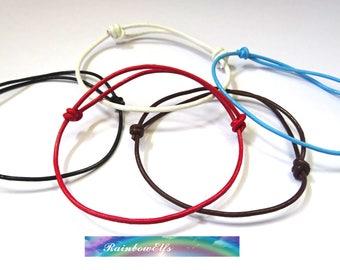 Leather string friendship bracelet. Minimalist bracelet. everyday bracelet. Adjustable size bracelet.