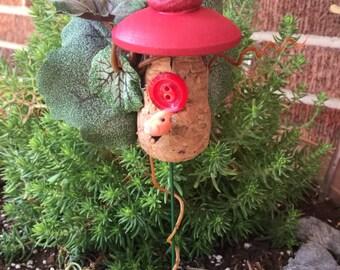 Wine Cork Birdhouse, Miniature Birdhouse, Cork Birdhouse, Fairy Garden Birdhouse, Terrarium Birdhouse, Flower Pot Birdhouse, Handmade