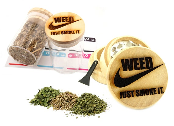 Just Smoke It Engraved Premium Natural Wooden Grinder & Wood Lid Glass Jar Gift Set # GS103116-40