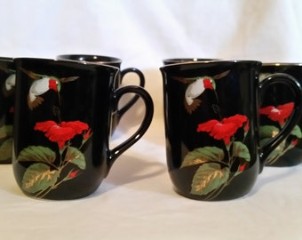 Hummingbird cup set/cup set by otagiri /otagiri/mugs set with hummingbirds/cups with hummingbirds