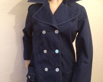 Montgomery Wards Vintage 60's Navy Jacket Precoat Dress