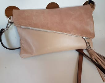 Cross-body removable strap foldover spring  leather clutch in pale pink and beige