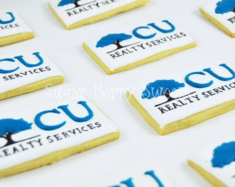 Custom Logo - Sugar Cookies - Business party favors-Thank you gift - Business Promotion  - company or client gift - business card cookies