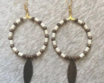 Beaded Hoop Feather Earrings
