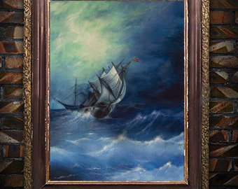 """Original acrylic painting on paper fo """"A storm in Arctic Ocean"""" Ayvazovsky, seascape painting"""