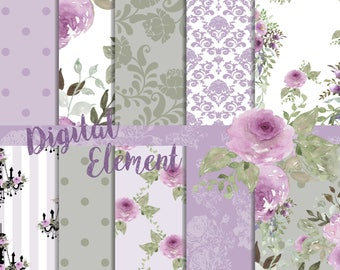 Digital Scrapbook, Scrapbook Paper, Lilac Watercolor Paper, Peony and Rose Lilac and Sage Paper, Wedding Paper. No. P193