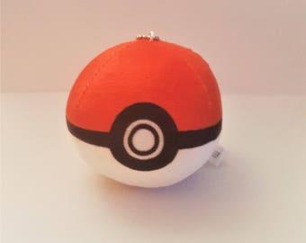 Pokemon Go! Soft Plush 3-D Pokeball on Silver Key-chain