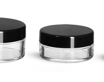 Plastic Jars, Clear Polystyrene Jars With Matte Black Lined Caps, Set of 4