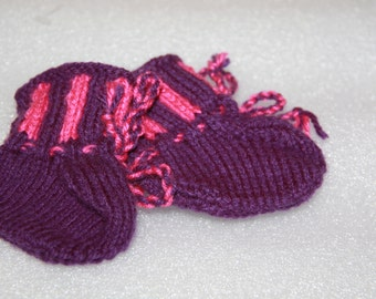 booties purple and pink hand knitted booties suit baby doll handmade booties